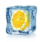 Ice cube and lemon — Stock Photo