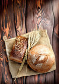 Bakery products and wheat — Stock Photo
