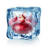 Ice cube and red onion — Stock Photo