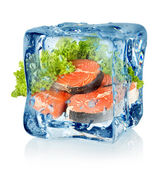 Ice cube and salmon — Stock Photo