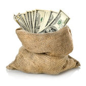 Money in the bag isolated — Stock Photo