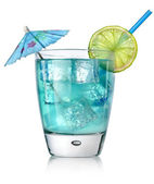 Blue cocktail in a glass — Stock Photo
