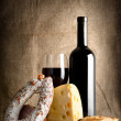 Wine and bread, sausage — Stock Photo