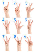 Collage hand showing number — Stock Photo