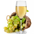 White wine and grapes in a basket — Stock Photo #21004343