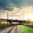 Railway and bridge — Stock Photo