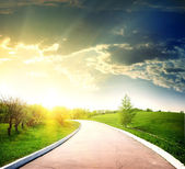 Asphalted road to the sun — Stock Photo