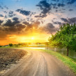 Country road near the lake — Stock Photo