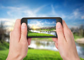 Phone and spring landscape — Stock Photo