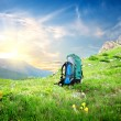 Backpack in mountains — Stock Photo