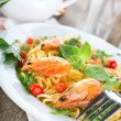 Seafood spaghetti with prawns — Stock Photo
