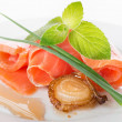 Salmon rolls with greens and fried onion — Stock Photo