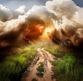 Lightning over the road — Stock Photo