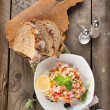 Risotto with vegetables and bread — Stock Photo