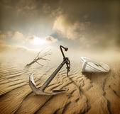 Boat in the desert — Stock Photo