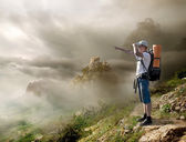 Tourist with backpack — Stock Photo