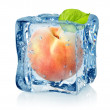 Ice cube and peach isolated — Stock Photo