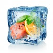 Fillet of salmon in ice cube — Stock Photo