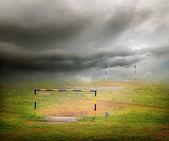 Mračna nad fotbalové hřiště — Stock fotografie
