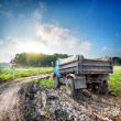 Truck on a country road — Foto Stock