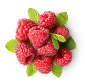 Sweet raspberry with green leaves — Stock Photo
