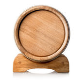 Wooden barrel on the stand — Stock Photo