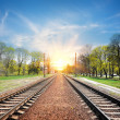Railroad at sunrise — Stock Photo