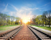 Railroad at sunrise — Stock Photo