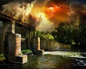 плотина и шторм — Стоковое фото