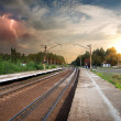 Bad weather over railroad — Stock Photo