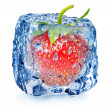 Strawberry in ice with drops — Stock Photo #45460065