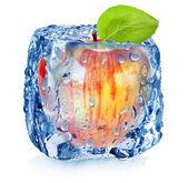 Frozen red apple — Stock Photo
