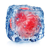 Frozen raspberries isolated — Stock Photo