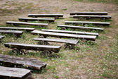 Benches from logs — Stock Photo