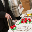 Jubilee cake cutting — Stock Photo