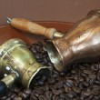 Stock Photo: Arab copper coffee pots