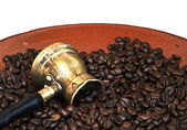Arab copper coffee pot on white background — Stock Photo