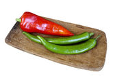 Red and green peppers — Stockfoto