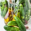 Harvesting and canning cucumbers - Stock Photo