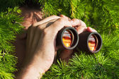 Watching with binoculars — Stok fotoğraf