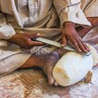 Hand processing  stone craftsmen Arab of Egypt - Stock fotografie