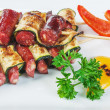 Bavarian sausages with ketchup — Stock Photo