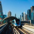 Dubai Metro. A view of the city from the subway car - Stock Photo