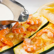 Zucchini with shrimp and sauce — Zdjęcie stockowe #19858877