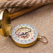 Compass with a rope - Stock Photo