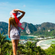 The girl at the resort in a dress on the background of the bays - Stock Photo