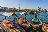 Boats on the Bay Creek in Dubai, UAE — Stock Photo