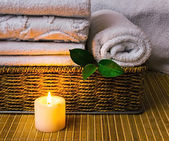 Spa with towels and candle — Photo