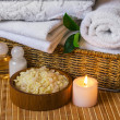 Spa with towels and candle — Stock fotografie
