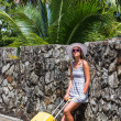 Girl with a yellow suitcase on a resort — Stock Photo #25233905